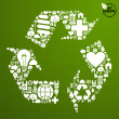 Green icons set in recycle symbol — Stock Vector #10129810