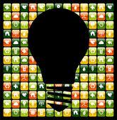 Zelená mobilní telefon app myšlenky — Stock vektor