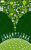 Monde vert eco — Vecteur