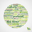 Go Green. Words cloud about environmental conservation in circle — Stock Vector