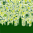 Green city eco icons background — Image vectorielle