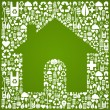 Green house over eco icons background — Stock Vector