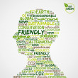 Go Green. Words cloud about environmental conservation in man he — Stock Vector