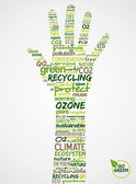 Go Green. Hand with words cloud about environmental conservation — Stock Vector