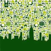 Green city eco icons background — Stock Vector