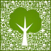 Gröna träd form över eco ikoner bakgrund — Stockvektor