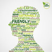 Go Green. Words cloud about environmental conservation in man he — Stok Vektör