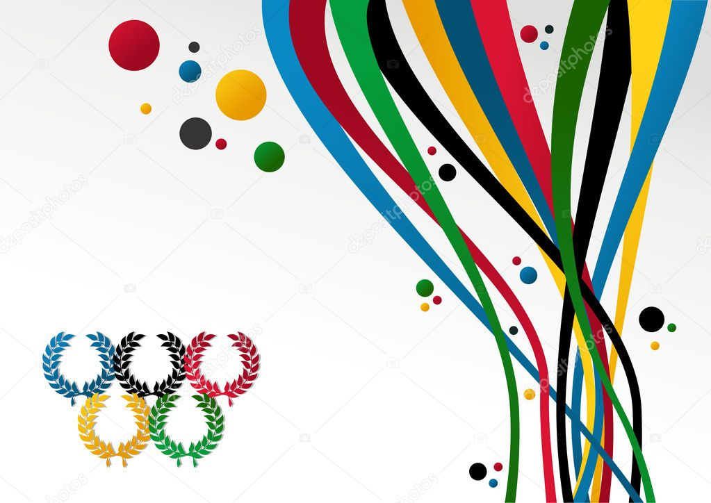 Olympic Games laurel wreath, ribbons and circles over white background. Vector file layered for easy manipulation and customisation. — Stock Vector #10241932