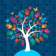 Stock Vector: Diversity tree hands background
