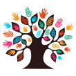 Stock Vector: Isolated diversity tree hands