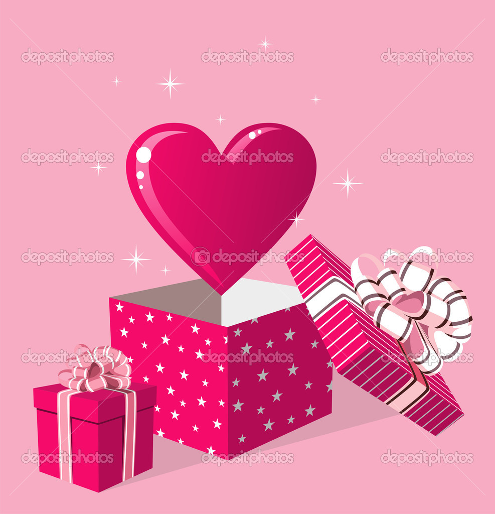 Happy day greeting card. Surprise heart love in gift box over pink background. Vector file available. — Stock Vector #10489424