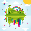Happy green city spring time concept illustration — Stock Vector #10491346