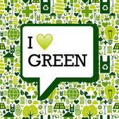 Me encanta el mensaje verde sobre textura de fondo de los iconos — Vector de stock