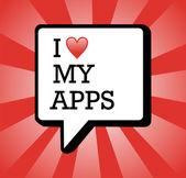 I love apps background illustration — Stock Vector