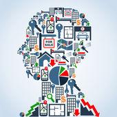 Property market business man head — Stock Vector