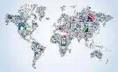 Kaart van de wereld van de pictogra — Vector de stock