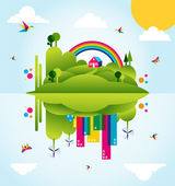 Happy green city spring time concept illustration — Stock Vector