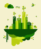 Green city concept illustration — Vector de stock