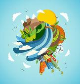 行くグリーン エネルギー地球の図 — ストックベクタ