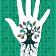 Go green hand tree - Stock Vector