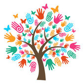 Isolated diversity tree hands — Stock Vector