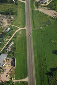 Country road and Green field aerial view — Stock Photo