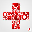 AIDS icons in communication bubble silhouette — Image vectorielle