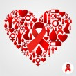 Heart silhouette with AIDS icons — Stock Vector