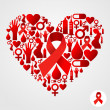 Heart silhouette with AIDS icons - Stock Vector