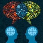 Social media brain communication — Stock Vector