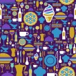 Gourmet icon set seamless pattern. — 图库矢量图片