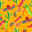 Mexican icons pattern - Imagens vectoriais em stock