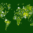 Globe World map with green icons — Stock Vector #7998071