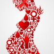 Pregnant woman silhouette with AIDS icons - Vettoriali Stock