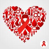 Sagoma cuore con icone di aids — Vettoriale Stock
