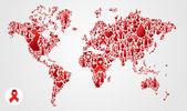 Mappamondo globo con icone di aids — Vettoriale Stock