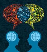 社会媒体的大脑沟通 — 图库矢量图片