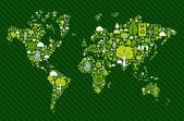 Kaart van de wereld van de hele wereld met groene pictogrammen — Stockvector