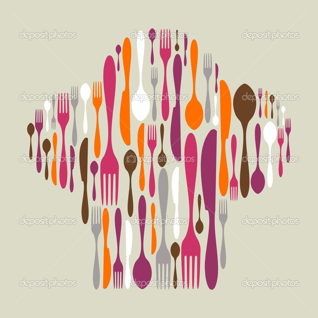 Chef hat shape made of cutlery icons. Multicolored fork, knife and spoon silhouettes. Vector available  Stock Vector #7995754