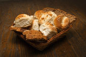 Food for the world: fresh bread in basket — Stock Photo