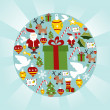 Christmas icon set in circle shape — Stock Vector