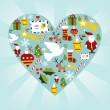 Christmas icon set in heart shape — Stock Vector #8063249