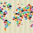 Social media bubbles globe world map - Imagen vectorial