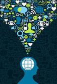 社会媒体的大脑通信闪屏 — 图库矢量图片