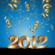 Happy New Year 2012 in blue background — Stock Vector