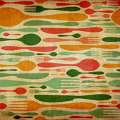 Retro cutlery pattern background — Stock Photo