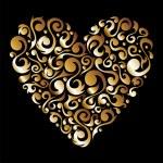 Golden Valentines floral love heart — Stock Vector #8594048