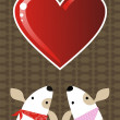 Valentines dog love background — Stock Vector