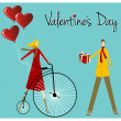 Couple with retro bike Valentines day greeting card — Stock Vector #8891509