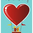 Couple in hot air balloon Valentines day greeting card — Stock Vector